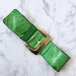 SALVATORE FERRAGAMO thick green leather belt